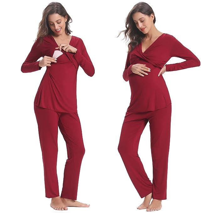 69a458580 Hawiton Pijama de Lactancia Invierno Ropa Premamá Embarazadas Algodón  Mangas Largas  Amazon.es  Ropa y accesorios