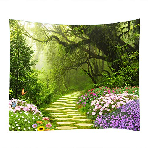 79x59 inches Big Tree Garden Print Decorative Throw Fabric Tapestry Wall Hanging Art Decor for Living Room and Bedroom
