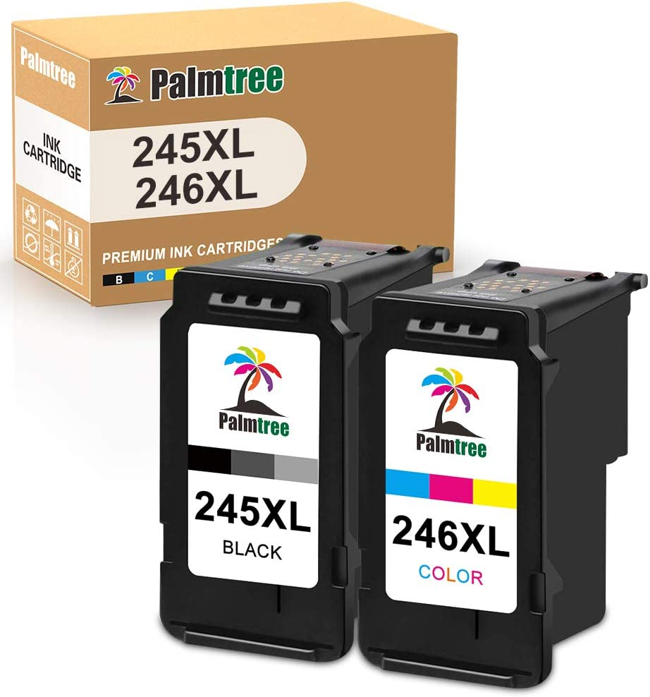 Palmtree Remanufactured Ink Cartridge Replacement for Canon PG-245XL CL-246XL PG-243 CL-244 Used with Pixma MX492 MX490 MG2420 MG2520 MG2522 MG2920 MG2922 MG3022 MG3029(1 Black, 1 Tri-Color)