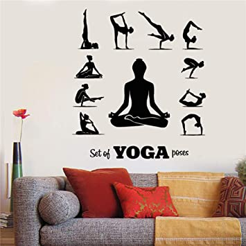 Calcomanía de pared de vinilo Yoga Pose Meditación Chica ...