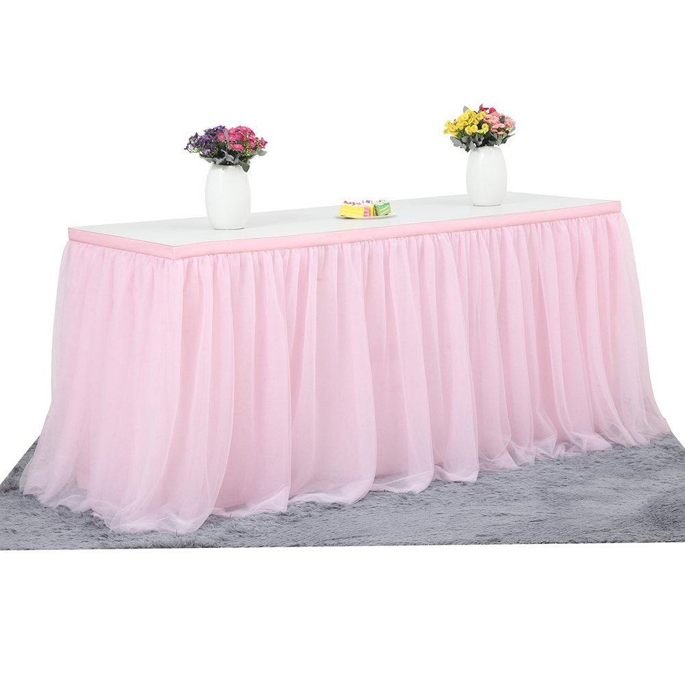 KIXIGO Tulle Table Skirt Tableware Table Cloth,Tutu Table Skirting For Party,Wedding,Birthday Party&Home Decoration,High-end Gold Brim 3 Layer Mesh Fluffy (Pink, L 14(ft) H 30in)