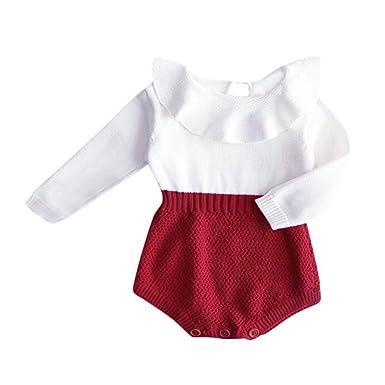 4f8cdddb01d Amazon.com  GRNSHTS Baby Girls Romper Knitted Ruffle Long Sleeve ...
