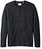 Billy Reid Men's Speckled Long Sleeve Sweater Henley, Navy, Medium