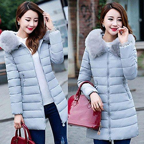 Con Caldo Medio Imbottito Donna In Lungo Cappuccio Babyney Spesso Cappotti Inverno Cotone Collo Solido Grigio R07Ew