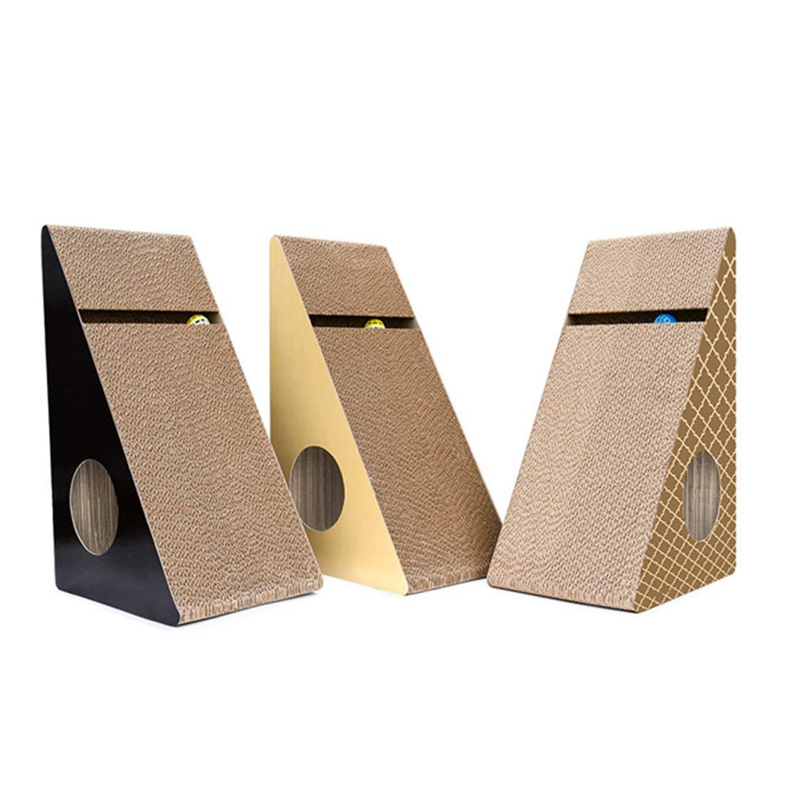 Pattern 60X36.5X27.5CM Pattern 60X36.5X27.5CM Hyue Corrugated Paper Against Wall Bells trilateral cat Scratch Board cat Toys cat pet Supplies cat Litter (color   Pattern, Size   60X36.5X27.5CM)