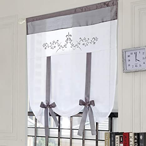 SIMPVALE 1 Piece Roman Curtain With Rod Pocket Tulle Embroidery Splicing Curtains For Bedroom Grey, Width 60cm // Height 120cm Toilet Kitchen Tie Up Sheer Roman Blinds Shade Study