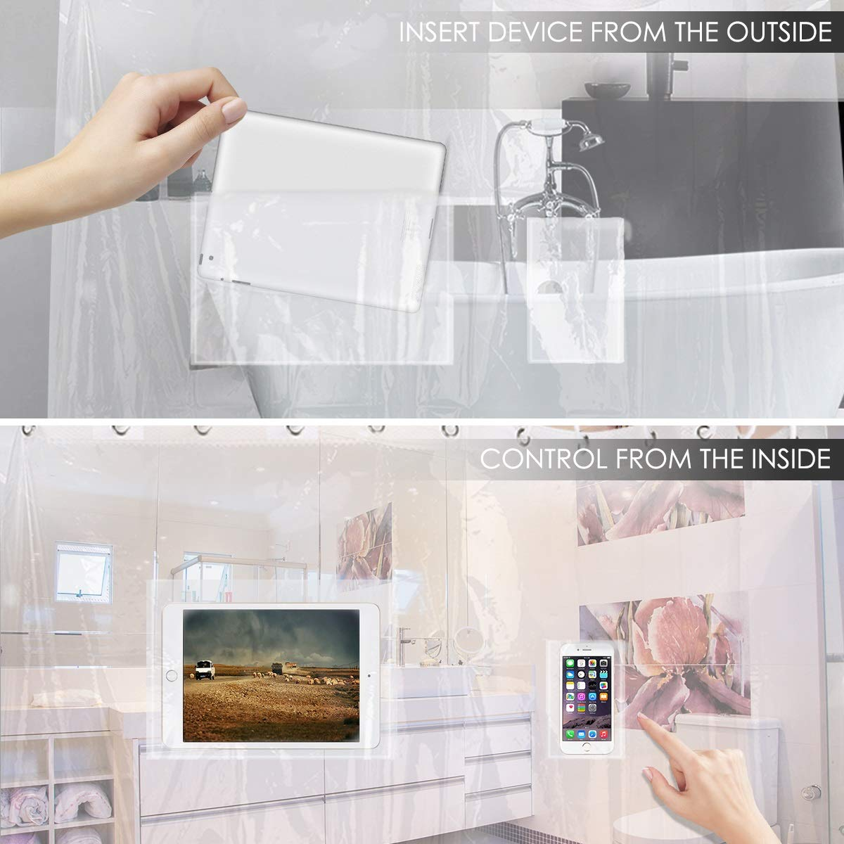 Xingny Waterproof Phone Case Dry Bag Pouch 8-Pocket Phone Holder Transparent Shower Curtain Waterproof Phone Pocket with High//Low Slots