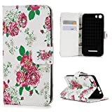 Advance 5.0 Case,BLU Advance 5.0 Case - Mavis's Diary 3D Handmade Wallet Bling Red Flowers Crystal Diamond Colorful PU Leather Snug Fit Soft TPU Inner Cover Magnetic Clip Card Holders