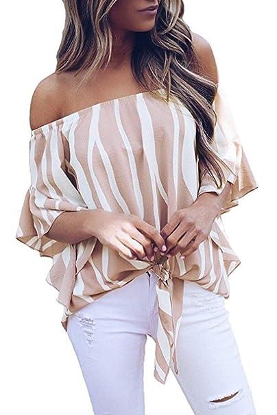 check out 35501 13203 T-Shirt a Righe Donna Camicia Chiffon con Fiocco Magliette ...