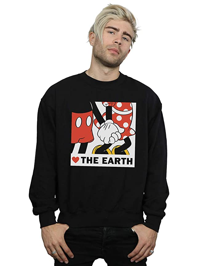 Disney Hombre Mickey Mouse Heart The Earth Camisa De Entrenamiento: Amazon.es: Ropa y accesorios