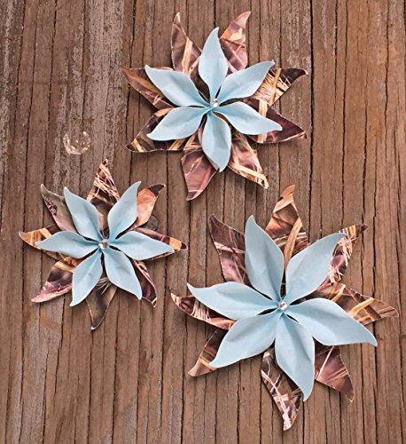Rustic Realtree Max 5 Grass Camo and Aqua Blue Set Of 3 Paper Layered Rhinestone Bling Flower Wedding Decoration Favor Card Making Camouflage (Aqua And Brown Wedding Invitations)