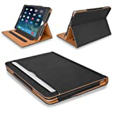 "MOFRED® Black & Tan Apple iPad Air (Launched November 2013) Leather Case-MOFRED®- Executive Multi Function Leather Standby Case for Apple iPad Air with Built-in magnet for Sleep & Awake Feature -- Independently Voted by ""The Daily Telegraph"" as #1 iPad Air Case!"