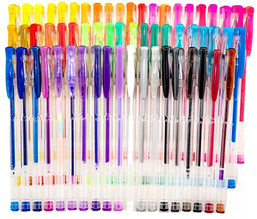 Strokes Art 60 Piece Gel Pen Set - Smooth Will Not Scratch - Includes Super Handy Zippered Carry Case