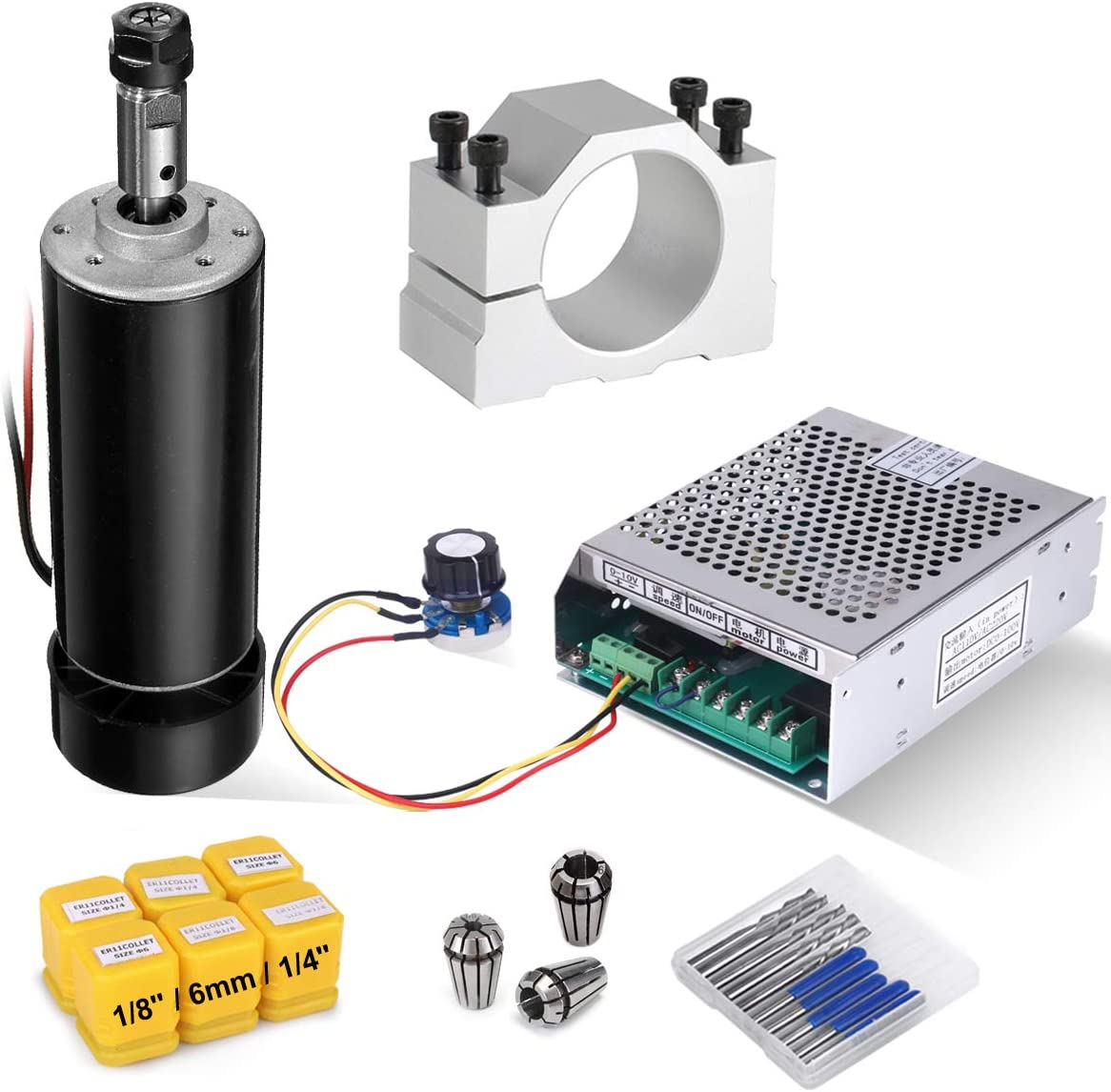 CNC Spindle Kit 500W Air Cooled 0.5kw Milling Motor + Spindle Speed Power Converter + 52mm Clamp + 1/8'' 1/4'' 6mm ER11 Collet + 10pcs CNC Bits for DIY Engraving