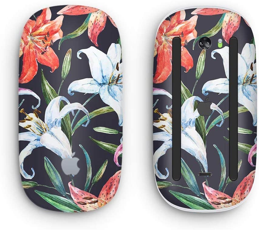 Wireless, Rechargable Design Skinz Premium Vinyl Decal for The Apple Magic Mouse 2 with Multi-Touch Surface Tropical Summer Floral v3