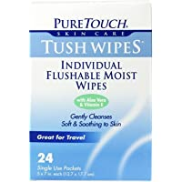 Tush Wipes for Adults 24 Individual Flushable Moist Wipes