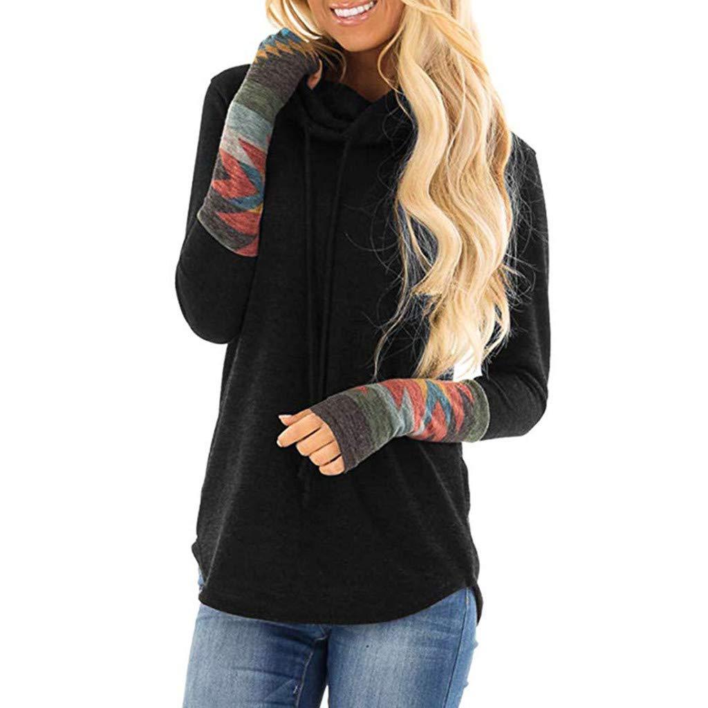 Women New Clothes HOSOME Women Print Long Sleeve Turtleneck Casual Tops Blouse