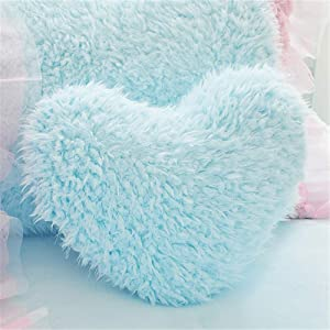 MOOWOO Fluffy Heart Throw Pillow with Pillow Cover and Insert, Shaggy Faux Fur, Decorative Design for Indoor and Outdoor, (Blue, Heart Shape-15.7X15.7Inches)