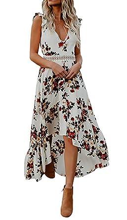51992b167da Carolilly Robe Fleurie Femme Eté sans Manche Col V Robe Bohème Asymétrique  Dos Nu Sexy Chic  Amazon.fr  Vêtements et accessoires