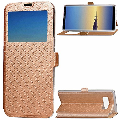 Samsung galaxy note 8 Phone Case, [ Lozenge][Card Slot][Flip View][Slim Fit] Folio Case with Window View Wallet Cases PU Leather Magnetic Folio for Samsung Galaxy note 8 (Gold Lozenge)