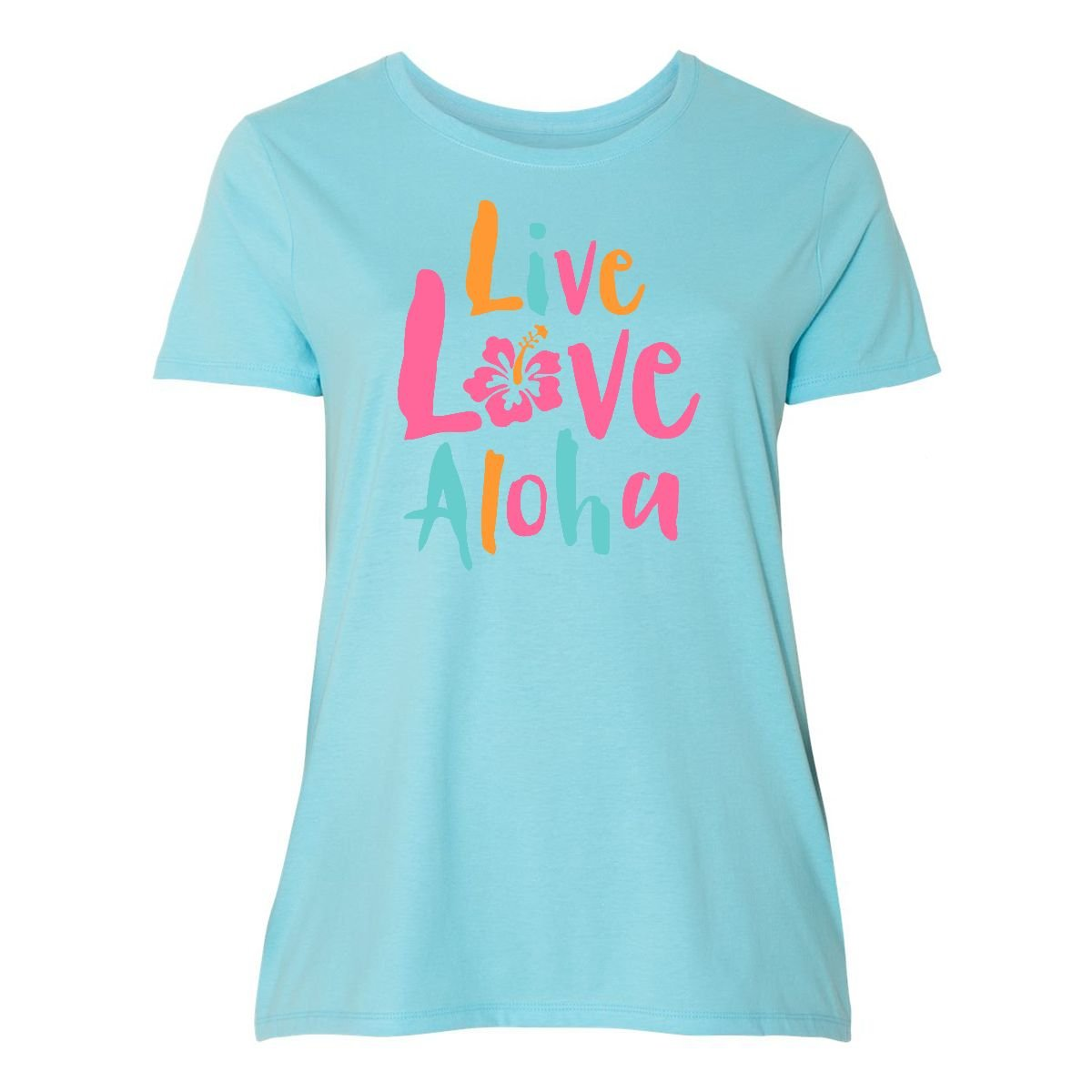 a8c7ec7bfeed Amazon.com: inktastic - Live Love Aloha 2 Women's Plus Size T-Shirt 2637d:  Clothing
