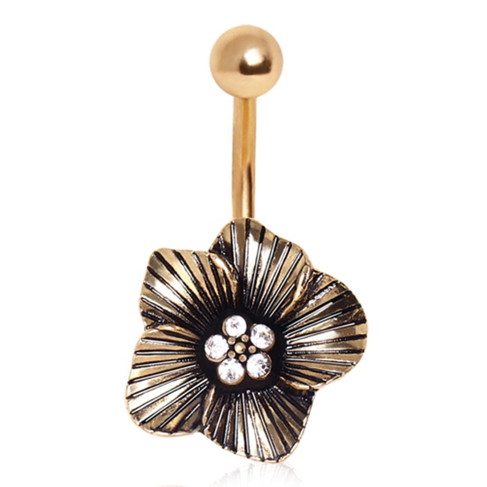 Hawaiian Floral Navel Gold Ion Stainless Steel Barbell Belly Button Ring B490