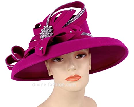 206f422eec66b Ms Divine Women s Wool Church Hats Dress Formal Hats  1832 (Dark Fuchsia)