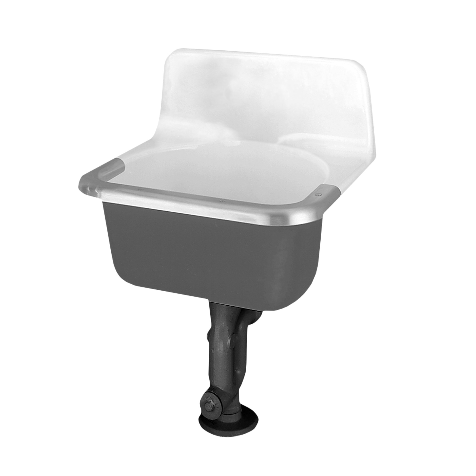 American Standard 7695.008.020 Akron Service Sink with Drilled Back on 8-Inch Center Holes and Rim Guard, Glossy Porcelain by American Standard