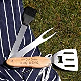 Personalized 'BBQ King' 5 in 1 Multi Tool - Summer Gifts for Men - Father's Day Gifts - Engraved Cookout Accessory Set: Spatula, Fork, Basting Brush, Wine & Beer Bottle Openers
