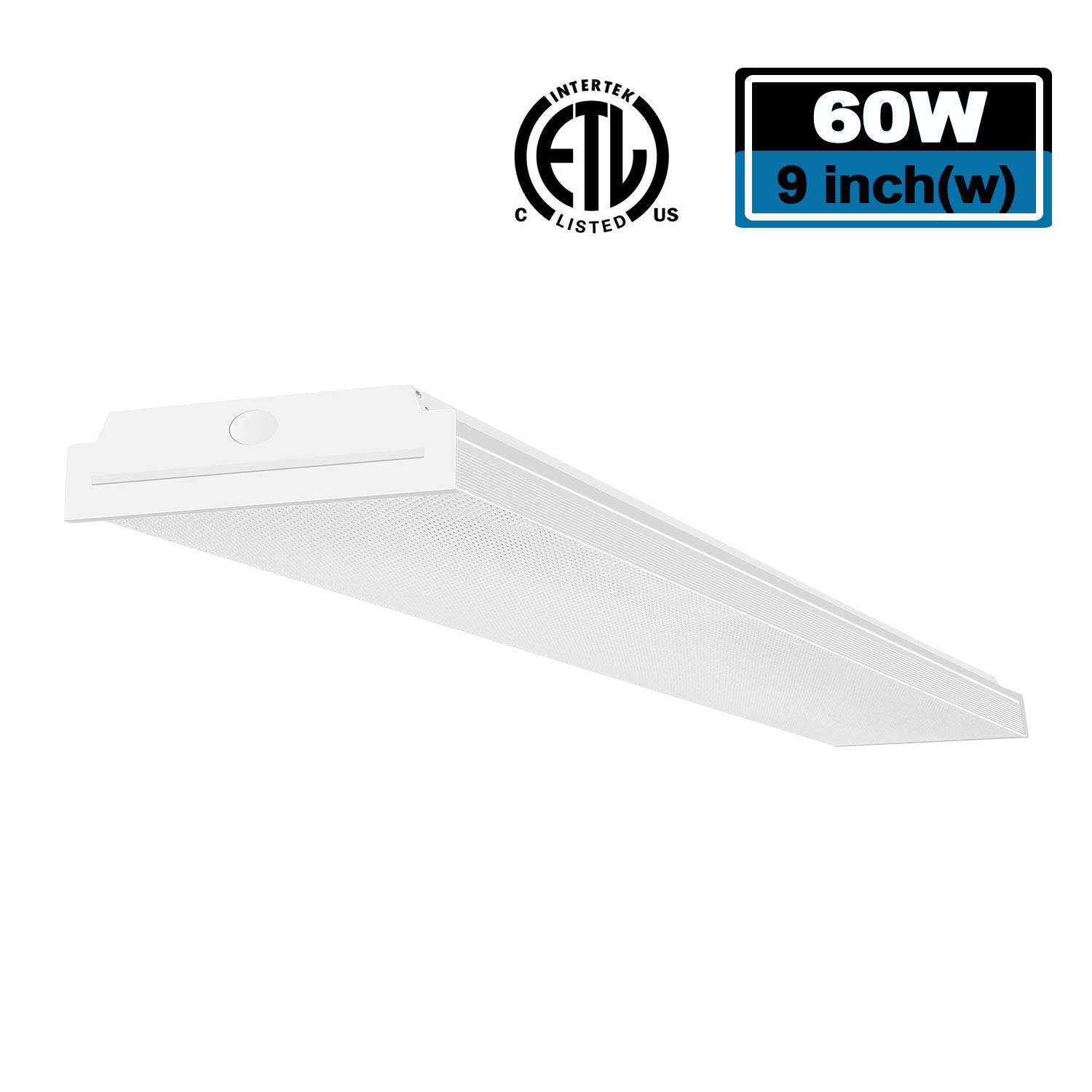 FaithSail 4FT LED Wraparound Light 60W LED Office Lights, 7200lm 4000K Neutral White, 4 Foot Flush Mount LED Wrap Shop Puff Ceiling Lighting Fixture for Garage Workshop, Fluorescent Light Replacement