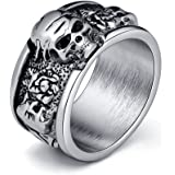 Best Father Day Skull Gift Vintage Black Flower Skull Band Rings for Men Antique Gothic Jewellery