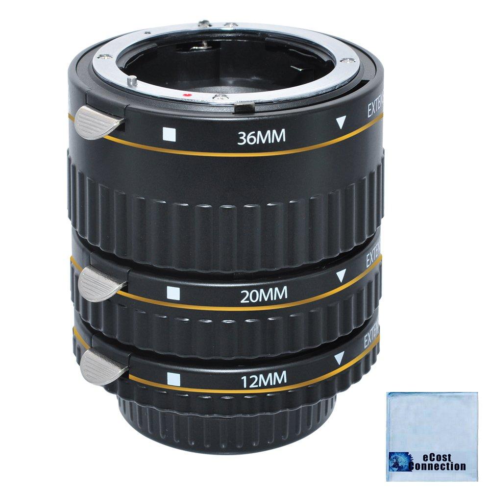 Auto Focus Macro Extension Tube Set for Nikon D5500 D810 D750 D300 D300S D600 D700 D800 D800E D3000 D3100 D3200 D5000 D5100 D5200 D5300 D7000 D7100 DSLR Camera & eCostConnection Microfiber Cloth by eCostConnection