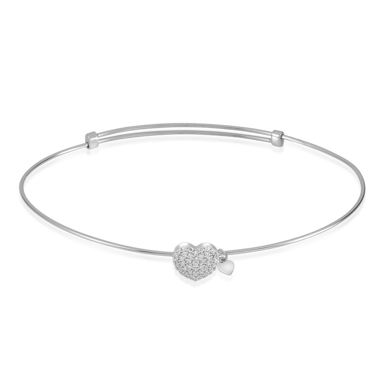 UNICORNJ Adult Tweens Teens 14k White Gold Cubic Zirconia Pave Heart Bangle Bracelet Adjustable Size Italy