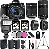 Canon EOS 80D Wi-Fi 1080P Digital SLR Camera + Canon 18-135mm IS STM + Canon 55-250mm IS STM + 0.43x Wide Angle Lens + 2.2x Telephoto Lens. All Original Accessories Included - International Version