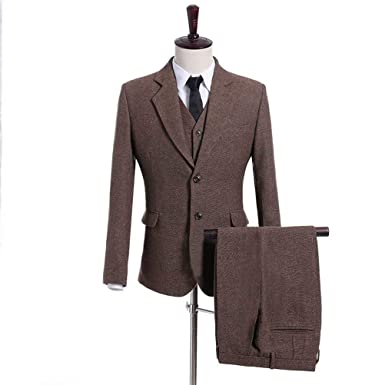 8067a8798e High-End Suits Brown Tweed Herringbone Jacket 3 Pieces Wool Suit for Men  Slim Fit Prom Tuxedo Casual Jacket+Pants+Vest at Amazon Men's Clothing store :