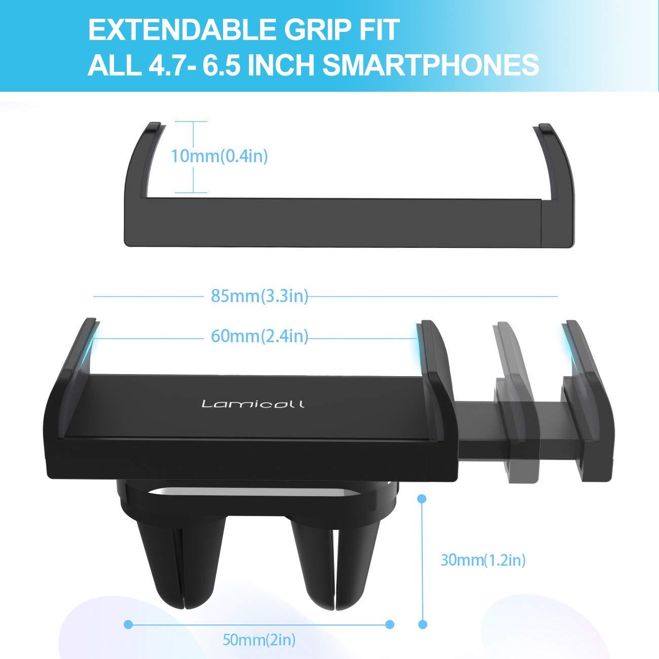 Samsung S8 S7 Altri Smartphones Universale Supporto Telefono : Rotazione 360 Gradi Supporto per Phone XS Max XR X 8 7 6 Plus Lamicall Supporto Cellulare Auto Nero Google Huawei Huawei