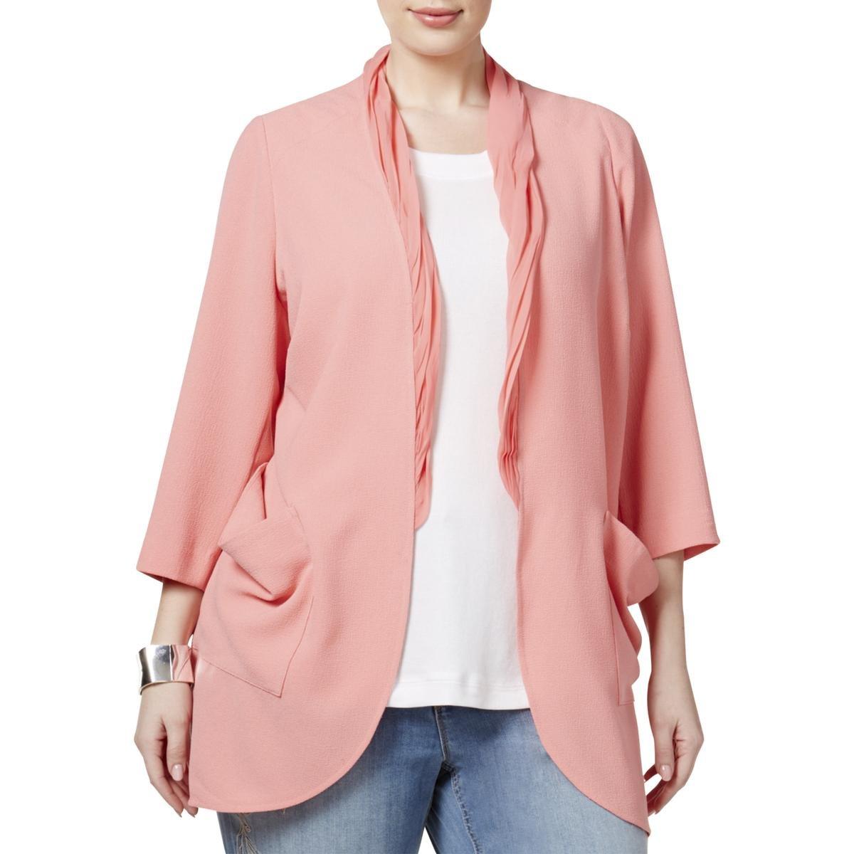 Melissa McCarthy Seven7 Womens Plus Chiffon Trim Long Sleeves Cardigan Top M7W5152