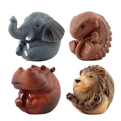 NUOBESTY 4PCS Animal Kawaii Toys Mini Sound Toys Baby Bath Toy for Home Bathtub Party Kids Toys Favors(Lion River Horse Elephant Ankylosaurus): Toys & Games