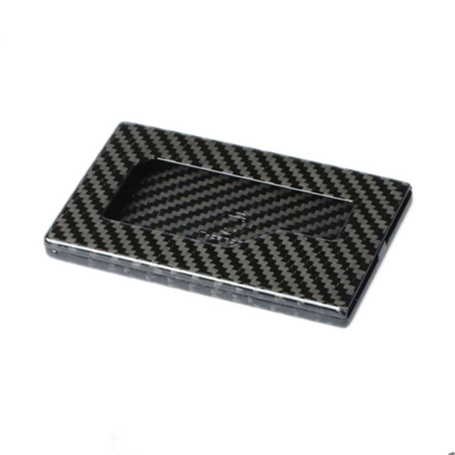 Real Genuine Carbon Fiber Business Card Holder, Professional Business Card Holder for Men Business Card Case Women Business Card Organizer Wallet Holder Case - Black - Glossy