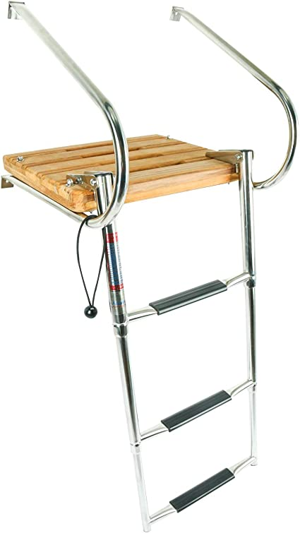 2 Step Handrail Boat Ladder Telescoping Inboard Fiberglass with Swim Platform