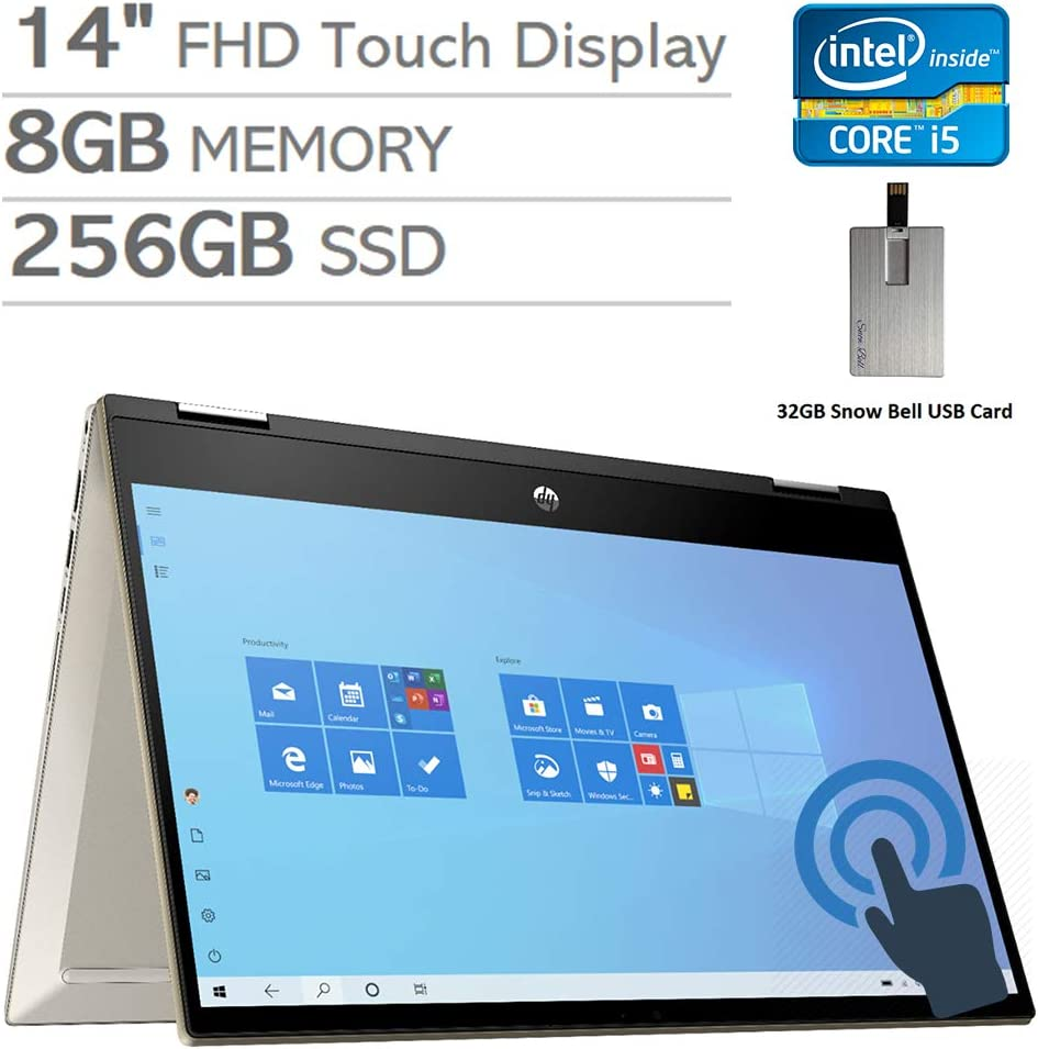 "2020 HP Pavilion x360 2-in-1 14"" FHD Touchscreen Laptop Computer, Intel Core i5-1035G1, 8GB RAM, 256GB PCIe SSD, Backlit Keyboard, Intel UHD Graphics, HD Webcam, Win 10, Gold, 32GB Snow Bell USB Card"