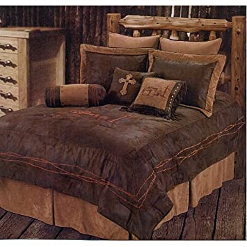 western rustic country praying cowboy comforter cross bedding set 5pc queen - Western Bedding