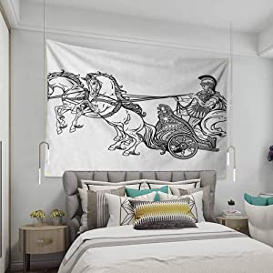VVA Toga Party Tapestry Wall Hanging,Roman Warrior in a Chariot Pulled by Two Horses Historic Carriage Monochromeream Wall Decor Blanket for Bedroom Home Dorm, Black White
