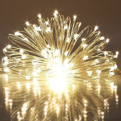 40 LED String Lights 8 Modes Battery Powered on 5 Meter Copper Wire Firefly Light with Timer for Bedroom Party (120 Hours of Lighting, IP65 Waterproof, Warm White)