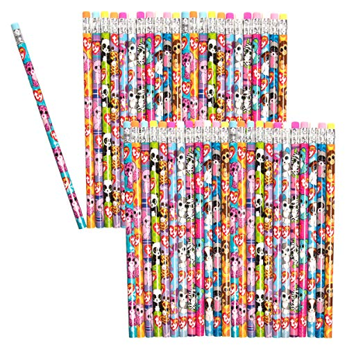 Ty (48 Pack) Beanie Boos Number 2 Pencils Assorted Fun Cute Beanie Babies Characters School Supplies ()