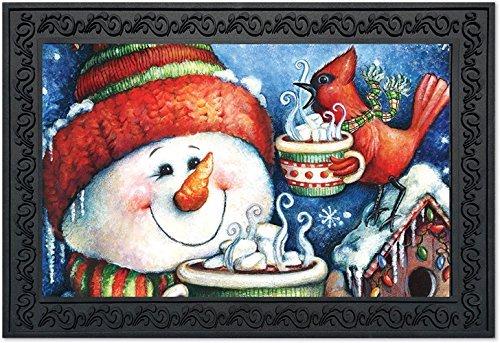 Warm Snowman - Warm Wishes Snowman Doormat Christmas Cardinal Indoor Outdoor 18