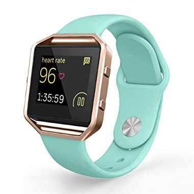 UMTELE Compatible Fitbit Blaze Bands, Adjustable Sport Silicone Strap Frame [Pin-Tuck Closure] Replacement Fitbit Blaze Smart Fitness Watch