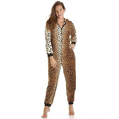 new product af243 96524 Damen Schlafanzug-Einteiler aus Fleece - Leoparden-Muster Gold/Braun -  Größen 36-50