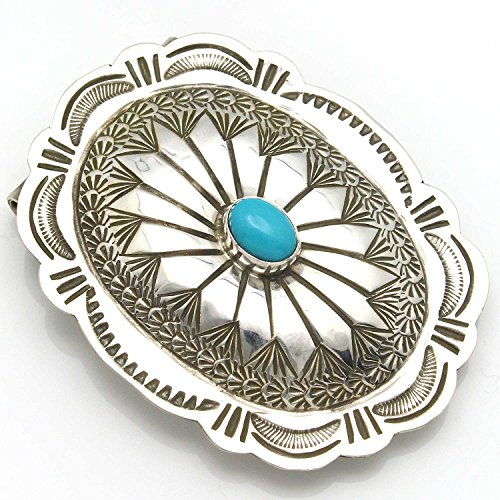 (Stamped Sterling Silver & Turquoise Oval Money Clip By Navajo Artist Blackgoat )