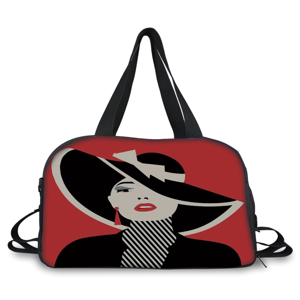 Travel handbag,Girls,French Style Icon in Shabby Chic Classical Vintage Hat and Striped Coat Design Print,Red Black ,Personalized